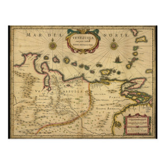 Map of Venezuela by Hendrik Hondius (1630) Postcard
