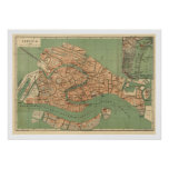 Map of Venice, Italy around 1886 Print
