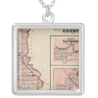 Map of Vermillion County with Newport Silver Plated Necklace