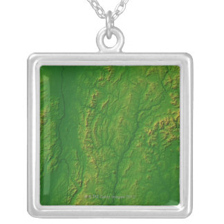 Map of Vermont 2 Silver Plated Necklace