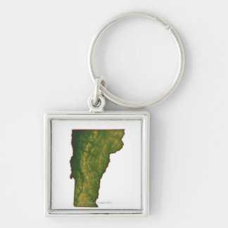 Map of Vermont Silver-Colored Square Key Ring