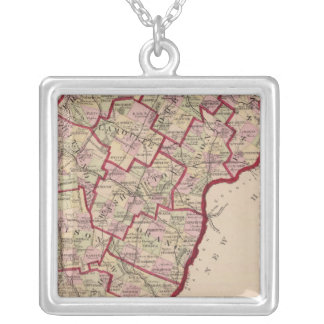 Map of Vermont Silver Plated Necklace