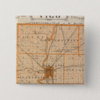 Map of Vigo County 15 Cm Square Badge