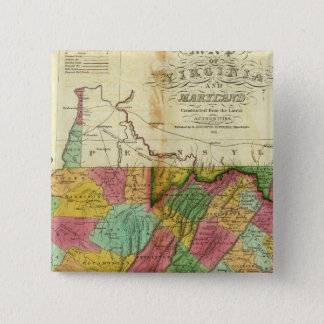 Map of Virginia and Maryland 15 Cm Square Badge