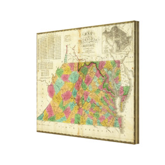 Map of Virginia and Maryland Canvas Print