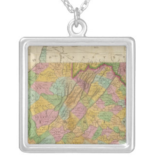 Map Of Virginia And Maryland Silver Plated Necklace
