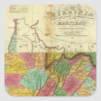 Map of Virginia and Maryland Square Sticker