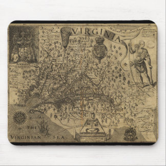 Map of Virginia by John Smith (1624) Mouse Mat