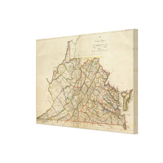 Map of Virginia Canvas Print