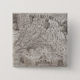 Map of Virginia, discovered and described by Capta 15 Cm Square Badge