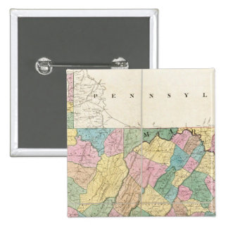 Map of Virginia, Maryland and Delaware 15 Cm Square Badge