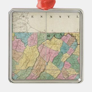 Map of Virginia, Maryland and Delaware Silver-Colored Square Decoration