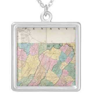 Map of Virginia, Maryland and Delaware Silver Plated Necklace