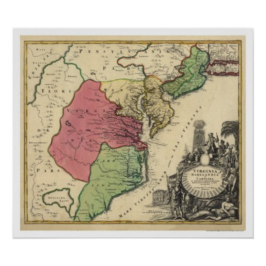 Map of Virginia, Marylandia, and Carolina 1714 Poster