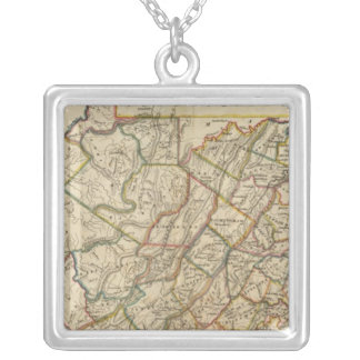 Map of Virginia Silver Plated Necklace