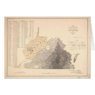 Map of Virginia Slave Population (1860) Greeting Card