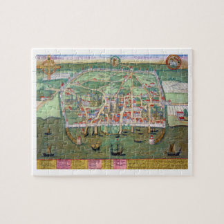 Map of Visby, from 'Civitates Orbis Terrarum' by G Jigsaw Puzzle