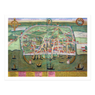 Map of Visby, from 'Civitates Orbis Terrarum' by G Post Cards