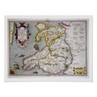 Map of Wales, published c.1630 (hand-coloured engr Poster