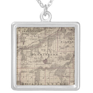 Map of Warren County, State of Iowa Silver Plated Necklace