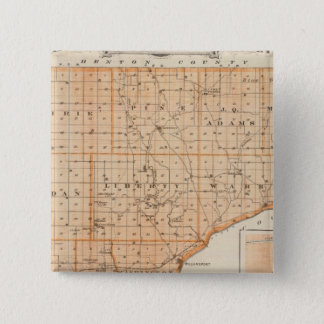 Map of Warren County with Plan of West Lebanon 15 Cm Square Badge