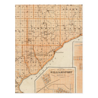 Map of Warren County with Plan of West Lebanon Postcard