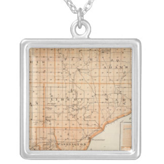 Map of Warren County with Plan of West Lebanon Silver Plated Necklace