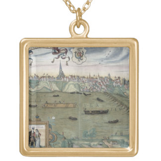 Map of Warsaw, from 'Civitates Orbis Terrarum' by Gold Plated Necklace