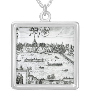 Map of Warsaw, from 'Civitates Orbis Terrarum' by Silver Plated Necklace