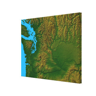 Map of Washington 2 Canvas Print