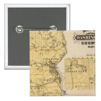 Map of Washington County, Minnesota 15 Cm Square Badge