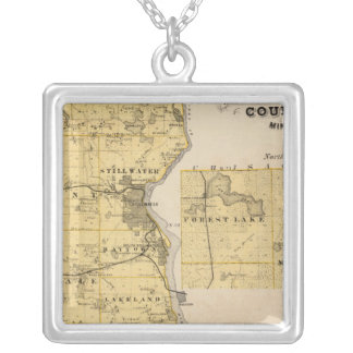 Map of Washington County, Minnesota Silver Plated Necklace