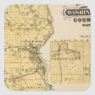 Map of Washington County, Minnesota Square Sticker