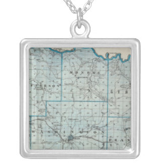 Map of Washington County Silver Plated Necklace