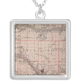 Map of Washington County, State of Iowa Silver Plated Necklace