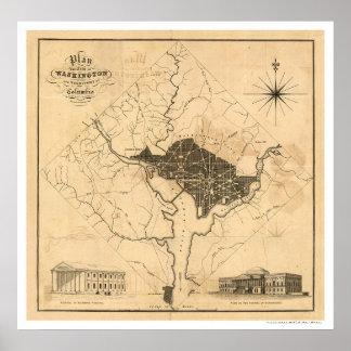 Map of Washington DC City Plan by Lizars 1819 Poster