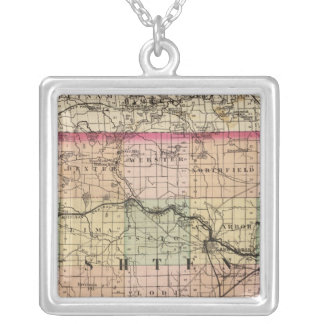 Map of Washtenaw County, Michigan Silver Plated Necklace