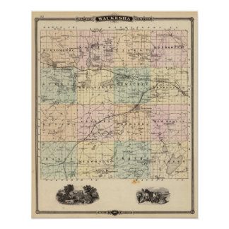Map of Waukesha County, State of Wisconsin Poster