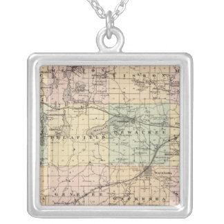 Map of Waukesha County, State of Wisconsin Silver Plated Necklace