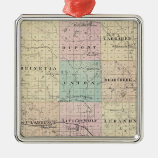 Map of Waupaca County, State of Wisconsin Christmas Ornament