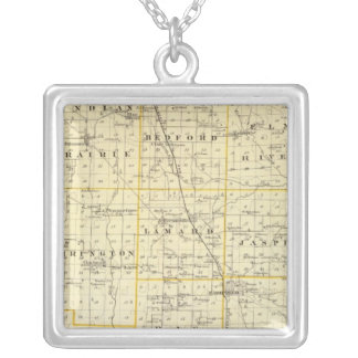 Map of Wayne County Silver Plated Necklace