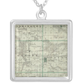 Map of Wayne County, State of Iowa Silver Plated Necklace