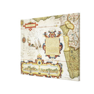 Map of West African coastline, 1596 (hand coloured Canvas Print