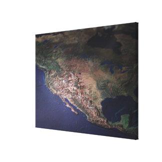 Map of West Coast USA Canvas Print