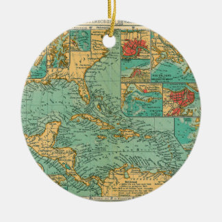 Map of West Indies from 1906 in German Round Ceramic Decoration