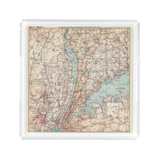 Map of Westchester County, New York Acrylic Tray