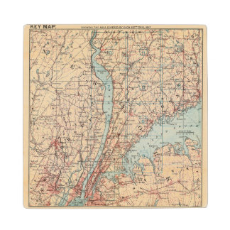 Map of Westchester County, New York Wood Coaster
