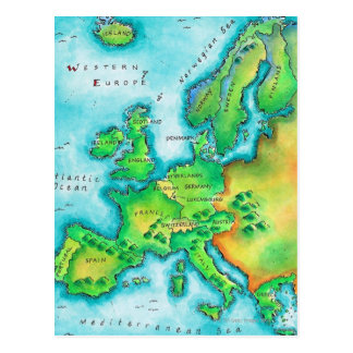 Map of Western Europe Postcard