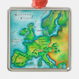 Map of Western Europe Silver-Colored Square Decoration