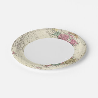 Map of Western Hemisphere Paper Plate